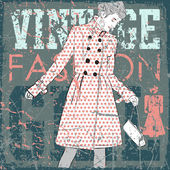 Pretty fashion girl on vintage scratched background — Stock Vector