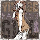 Fille jolie mode sur fond rayé vintage — Vecteur