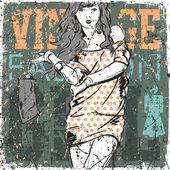 Красивая девушка моды на Винтаж почесал фон — Cтоковый вектор