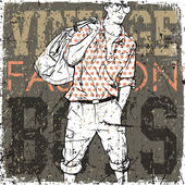 Stylish dude with bag on a grunge background — Stock vektor