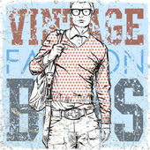 Stylish dude with bag on a grunge background — Vector de stock