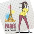 Young stylish girl on a eiffel tower background — Stock Vector