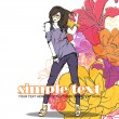 Floral vector card with fashion girl. — Stock Vector