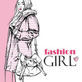 Fashion girl in a coat in sketch-style — Stock Vector