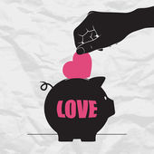 Piggy bank and heart. — Stock Vector