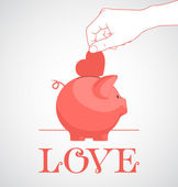 Piggy bank and heart. — Stock Vector