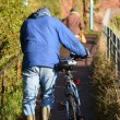 Bicycle  pusher — Stock Photo