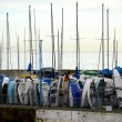 Stock Photo: Dinghy masts by harbour