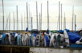 Dinghy masts by harbour — Stock Photo