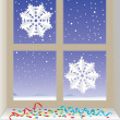 Winter window, New Year — Stock Vector