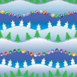 Stock Vector: Background, seamless pattern, snowmans