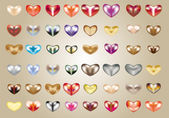Variants of 3D-hearts of different colors — Stock Vector