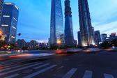 Šanghaj městské auto světlé stezky — Stock fotografie