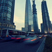 Shanghai Pudong road light trails — Photo