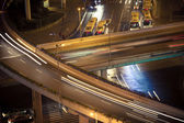 Viaduct light trails of cars — Stock Photo