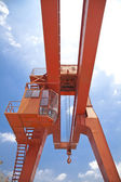 Yellow gantry crane — Stock Photo