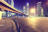Night, Shanghai Pudong light trails — Foto Stock