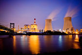 Night view of industrial plants — Stock Photo