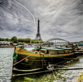River in Paris at the Eiffel Tower — Stock Photo