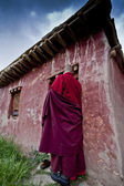 Monk entering his hut — Stock Photo