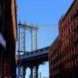 Manhattan Bridge seen from Brooklyn, New York - Stock Photo
