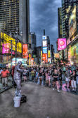 Street performance on crowded Times Square in New York, USA — Stock Photo