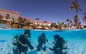プールでスキューバ ダイビングのスキルを学習 — ストック写真