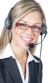 Businesswoman with headphones — Stock Photo