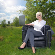 Businesswoman working on laptop in the landscape — Stock Photo