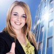 Businesswoman showing ok sign — Stock Photo