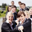 Stock Photo: Business Teamwork People pulling on rope