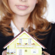 Businesswoman with a toy house — Stock Photo #28454561