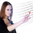 Businesswoman shows the information panel — Stock Photo