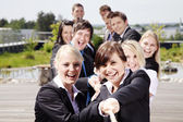 Business Teamwork People pulling on rope — Stock Photo
