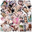 Background of photos of girls — Stock Photo