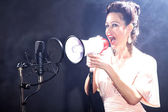 Brunette girl shouts in a megaphone next to the microphone — Stock Photo