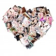 Heart with photos of girls — Stock Photo
