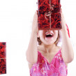 Young girl with Christmas gifts — Stock Photo #28476781