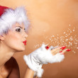 Christmas blonde girl with snow — Stock Photo