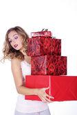 Blondynka z boże narodzenie prezenty — Zdjęcie stockowe