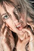 Blonde girl's face — 图库照片