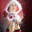 Christmas blonde girl with snow — Stock Photo #28481453