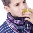 Little boy eating an apple — Stock Photo