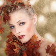 Blonde girl with autumn leaves — Stock Photo #28489299