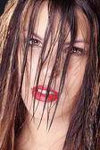 Brunette girl close-up — Stockfoto