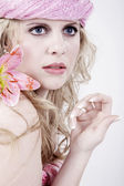 Nude blonde girl with flowers — Stok fotoğraf