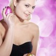 Blonde girl with Easter eggs — Stock Photo #28491135