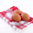 Eggs on a towel — Stock Photo