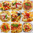 Collage with pasta dishes — Stock Photo