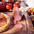 Pizza and food on the table — Stock Photo